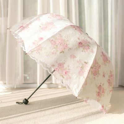 深拱形太阳伞蕾丝防紫rt7线防晒阿kh伞型公主双层黑胶遮阳伞