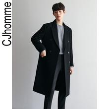 CJHOMME 冬季加厚韩款新式黑色毛rt16大衣男kh青年潮流帅气