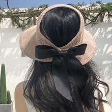 草帽子rt夏天韩款防zj遮阳帽沙滩出游渔夫防紫外线遮脸太阳帽