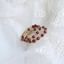 BO丨ru作14k包ao石石榴石编织缠绕戒指原创设计气质007
