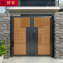 中式铝艺实木庭院门别墅花