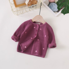 女宝宝ru织开衫洋气an色毛衣(小)外套春秋装0-1-2岁纯棉婴幼儿