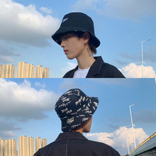 双面戴ru夫帽男士潮qv涂鸦韩款百搭青年夏季帽子男盆帽遮阳帽