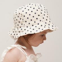 韩国进ru婴儿遮阳帽tx薄式宝宝防晒帽宝宝渔夫帽男女童帽纯棉