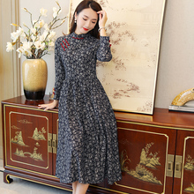 秋季改ru款旗袍式唐ng中国风老上海连衣裙民族风复古中式女装