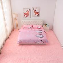 家用粉ru毛绒地毯卧zi可爱少女心网红床边毯公主房间长毛地垫