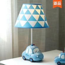 (小)汽车ru童房台灯男wa床头灯温馨 创意卡通可爱男生暖光护眼