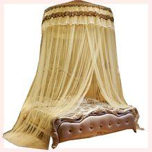 欧式圆ru粉色紫黄绿wa式公主风纱帐纱幔宫廷1.5m床幔吊顶蚊帐