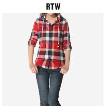 RTWru帽格子衬衫wi20春秋女装纯棉修身学生上衣女外穿百搭衬衣
