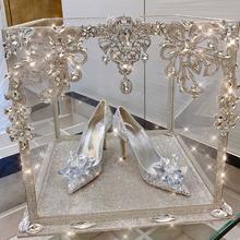水晶婚ru仙女尖头细ue水钻灰姑娘新娘鞋少女高跟鞋公主结婚鞋