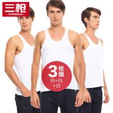 三枪背rv男夏天白色v5衣宽松中老年跨栏男士运动老头打底汗衫