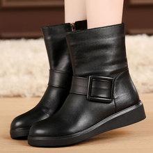 秋冬季rw鞋平跟女靴bw绒棉靴马丁靴中筒靴真皮靴子平底靴大码