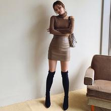 棕色(小)rw裙女短式春bw显瘦一步裙半身裙pu皮紧身性感包臀短裙
