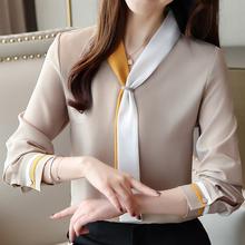 衬衣女rw计感(小)众春bw气港味复古雪纺上衣加绒衬衫保暖打底衫
