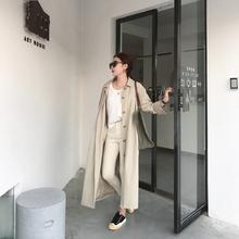(小)徐服rw时仁韩国老ggCE长式衬衫风衣2020秋季新式设计感068