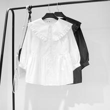 [rxvr]秋季新款黑色白色女衬衫大