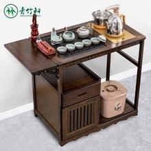 茶几简约家用(小)ry台移动实木su乌金石茶车现代办公茶水架套装