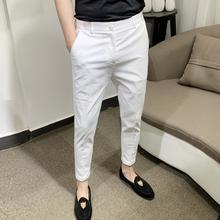 春季潮流休闲裤男修身九分(小)脚ry11简约韩su搭薄款白色裤子