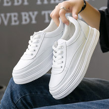 系带白ry新式韩款百su松糕鞋女鞋真皮(小)白鞋单鞋内增高休闲鞋