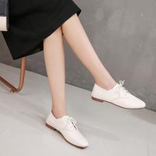 202ry春式平底女su鞋穆勒鞋懒的两穿英伦风百搭方头系带(小)白鞋