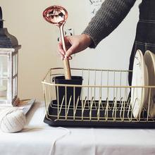 出口日ry北欧木铁碗su架厨房置物架收纳盘子沥晾洗滤放碗筷盒