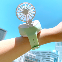 萌物「手表风扇」可充电 抖音同式网ry14随身携su你(小)型手持创意手环可爱学生儿