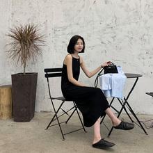 A7sryven针织su心女秋韩款中长式无袖套头黑色打底内搭连衣裙