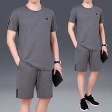 361正rz1牌中年男ng恤夏季纯棉短裤套装中老年宽松大码半袖体