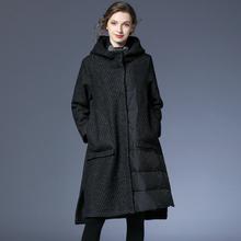 咫尺宽s7中长式条纹c7套女装大码连帽羊毛大衣女2020冬装新式