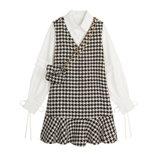 VEGs7 CHANc7裙套装女2020秋冬新式长袖衬衫+毛呢背心鱼尾裙