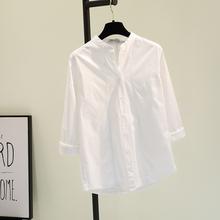 立领白色棉麻衬衫女202