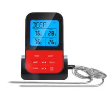 新式家sa厨房食品温hi线烧烤温度计防水双探针电子BBQ温度计
