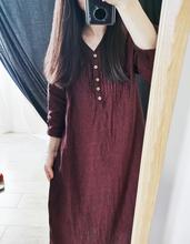 两件半sa~ 春秋双hi麻风琴褶纽扣连衣裙 宽松长袖裙文艺袍子