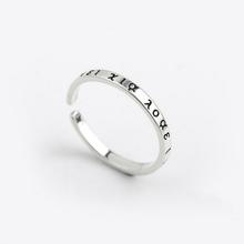 简约设计Ssa25纯银饰it古希腊文字开口戒指少女指环冷淡风