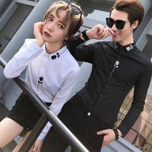 情侣装sa袖衬衫加绒wo刺绣花加厚长衬衣男女修身打底寸衣白色
