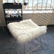 白色仿sa毛方形圆形ji子镂空网红凳子座垫桌面装饰毛毛垫
