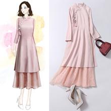 中国风sa装连衣裙2ui年秋装新式中式少女唐装年轻式改良款旗袍女