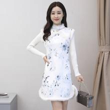 202sa年秋冬季修sa旗袍女装 加绒加厚保暖女中国风少女 连衣裙