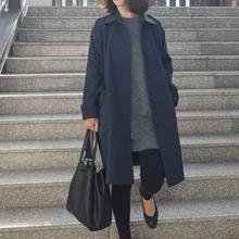 韩国门sa品GRAYemC女式翻领大衣腰带风衣中长式口袋风衣外套1199