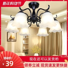 吊灯简sa温馨卧室灯es欧大气客厅灯铁艺餐厅灯具新式美式吸顶