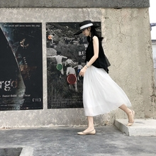ins超火的雪纺百褶裙高sa9半身裙女on风长裙中长款白色裙子
