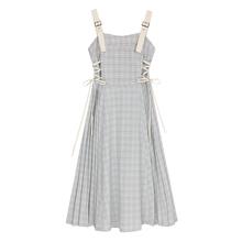 VEGsa C/背带ry女2020新式夏格子绑带很仙的法国(小)众桔梗裙子