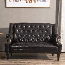 欧式双sa三的沙发咖tw发老虎椅美式单的书房卧室沙发
