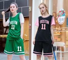 女生套sa女韩款假两an定制学生篮球比赛运动队服印字号