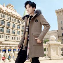 男士外套中长式韩款潮流冬季风衣男毛sa14帅气冬an毛呢大衣