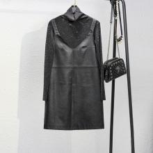 202sa秋冬新式黑bo皮吊带连衣裙短裙两件套内搭打底衫有大码