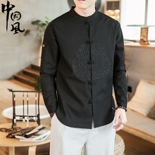 中国风sa装唐装男士bo潮牌刺绣盘扣改良汉服古装大码棉麻衬衫