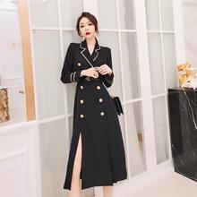 黑色气sa大衣女20bu装新式风衣女中长式英伦风过膝西装外套加厚