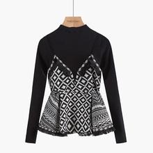 假两件sa衣2020ue装短式高腰菱格裙摆收腰洋气拼接针织衫女士