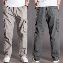 休闲裤男春夏季多sa5袋长裤肥la大码运动裤直筒宽松工装裤